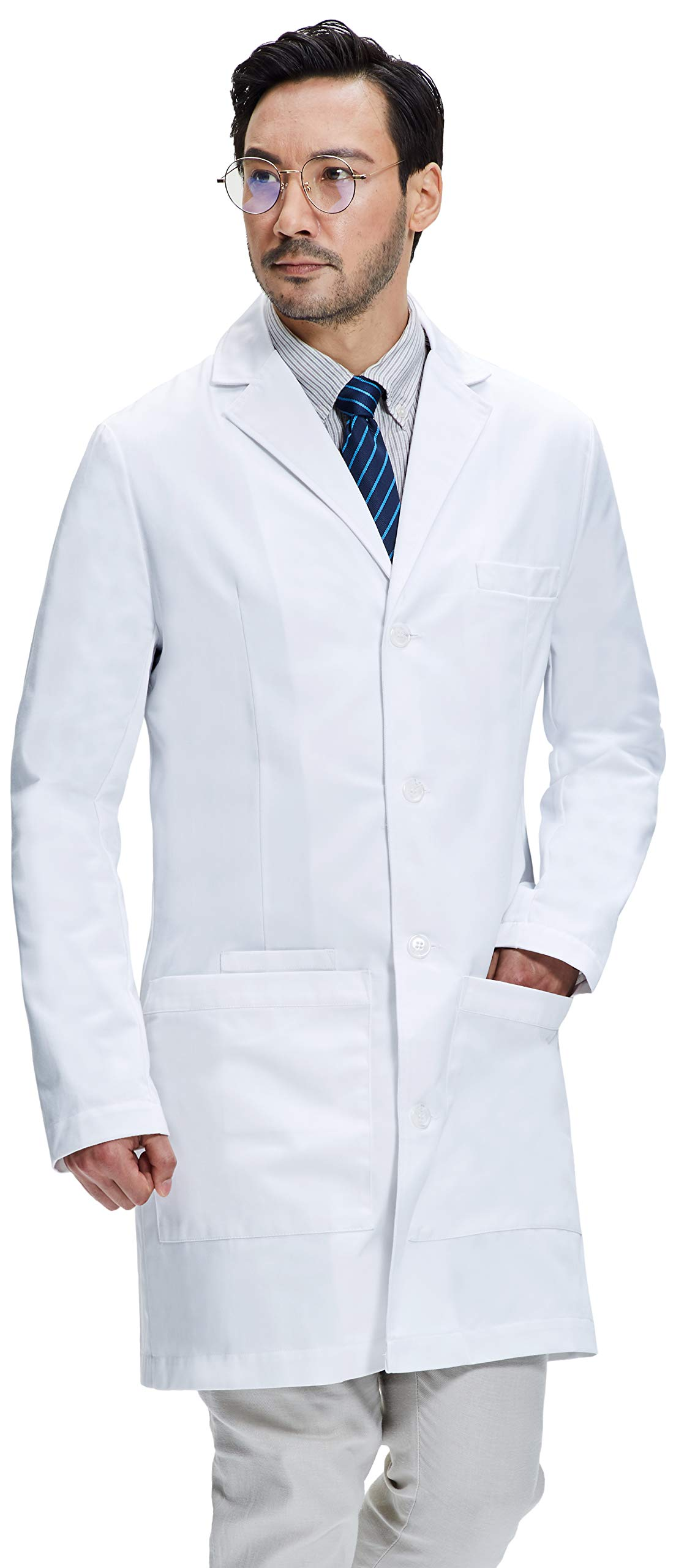 Dr. James Men's Semi-Tailored Fitted Lab Coat (38 Inch Length) Size M