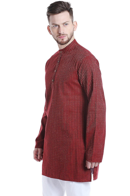 81f0fc68e8f Shatranj Men's Indian Mandarin Collar Mid-Length Fine Stripe Kurta Tunic at  Amazon Men's Clothing store: