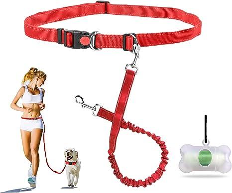 Flexible Elastic Pet Dog Tactical Puppy Bungee Leash Stretch Strap Belt Waist for Running Walking Blue