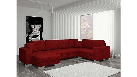 JUSThome Sofá canapé de esquina panorámica Marco Conjunto de salón con tejido estructurado (AxLxA): 145 –206 x 303 x 86 cm, rojo, Langle gauche face ...