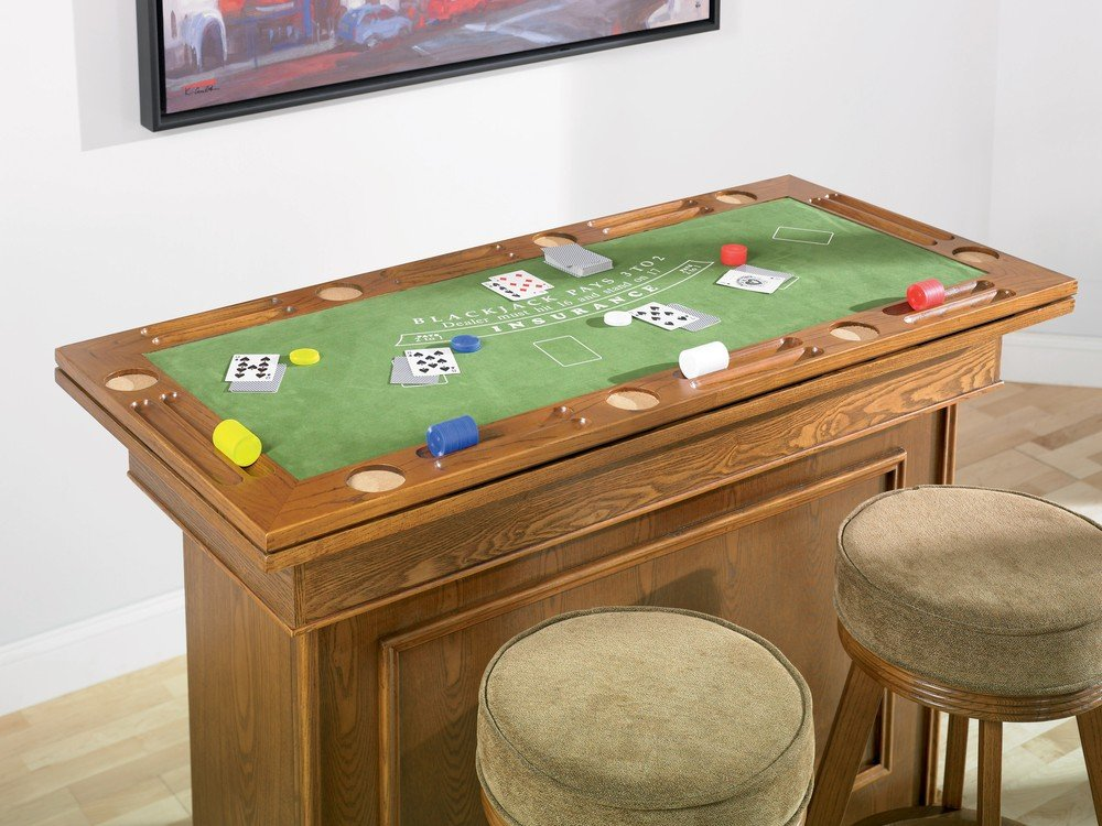 Genial Coaster All In One Game Table/Bar Unit With Wine Shelves Includes,  Roulette, Blackjack And Craps, Cherry Finish: Amazon.co.uk: Kitchen U0026 Home
