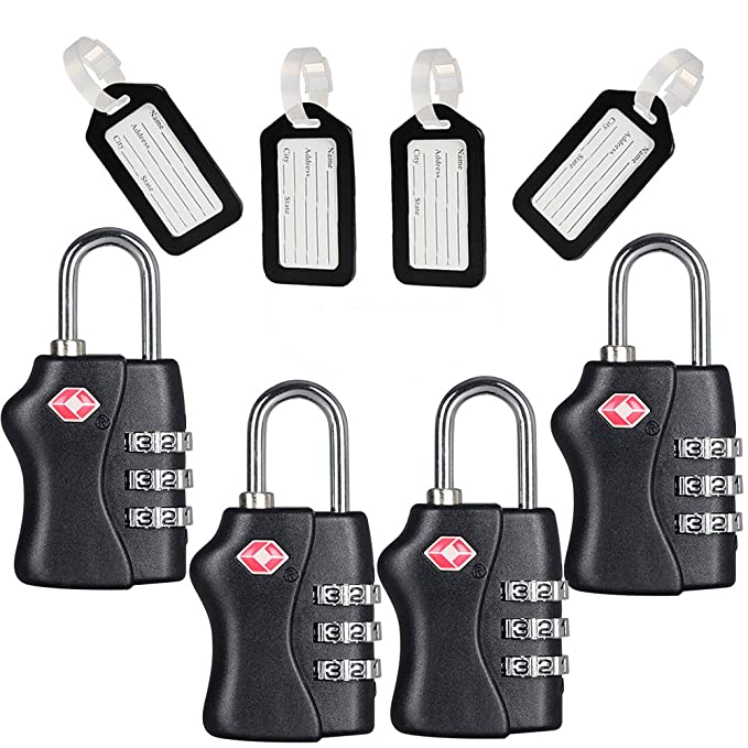 0da090344882 TSA Travel Locks Security 3 Digit Combination Suitcase Luggage Bag Code  Lock Padlock 4 Pack Locks With 4 Luggage Tag