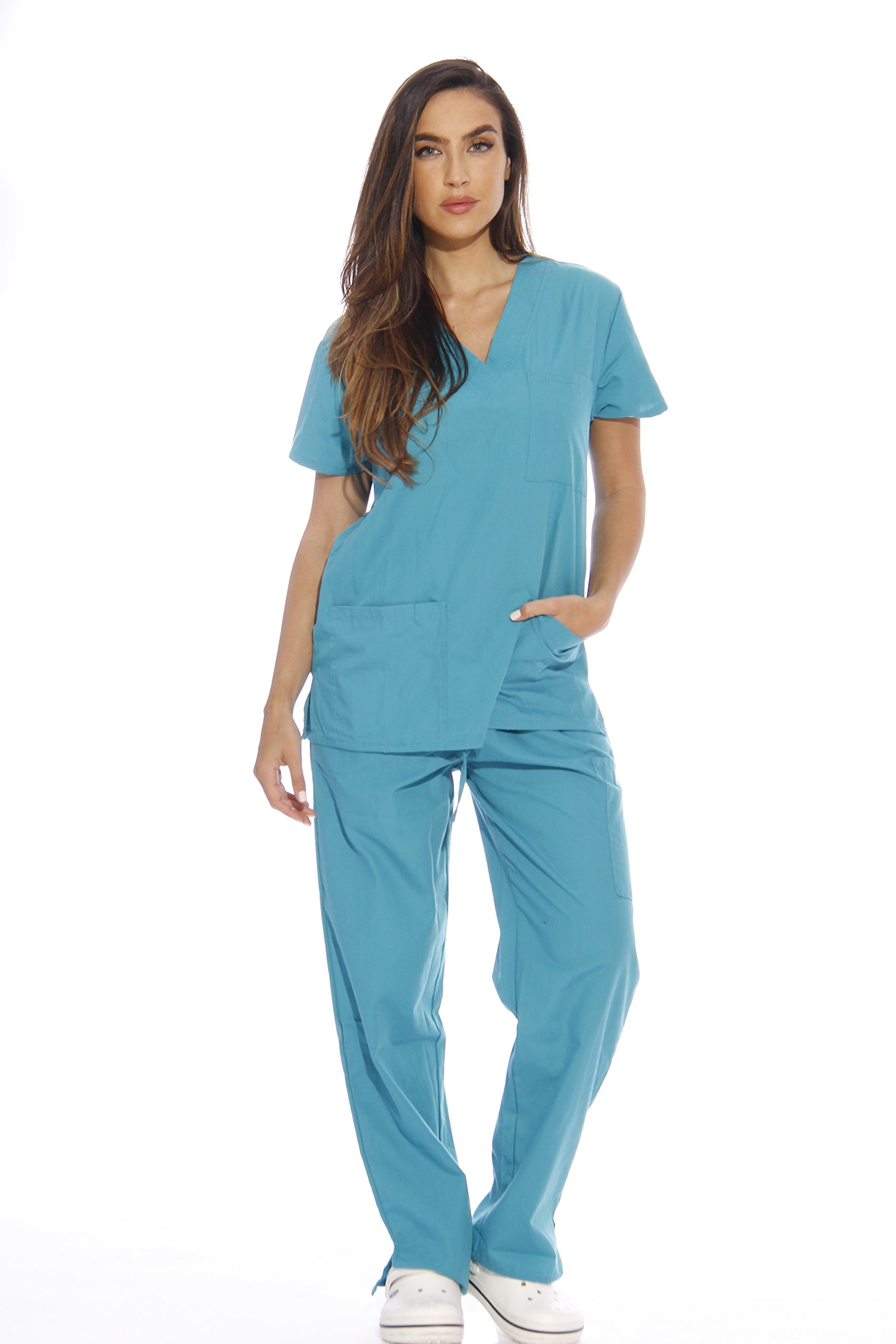 Just Love Women's Scrub Sets Six Pocket Medical Scrubs (V-Neck With Cargo Pant), Teal, Large
