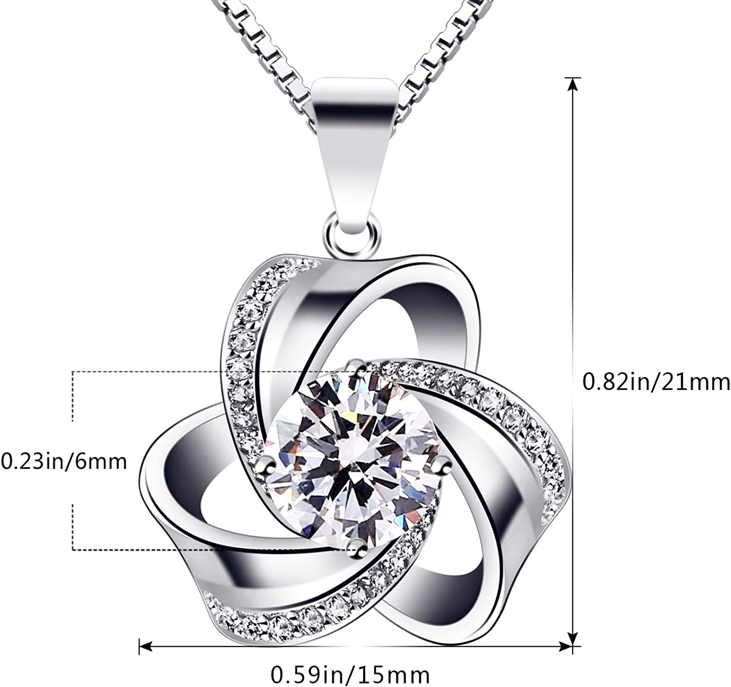 925 Sterling Silver Cubic Zirconia Pendant Necklace 18inch