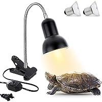 Geegoods Lámpara de calor para reptiles, lámpara de sujeción para acuario, luz ajustable y temperatura con soporte UVA…