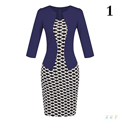 9762aa44a1 OnIn Women Formal Pencil Dress Suits Print Flower Plaid Dresses Office Wear  Work Clothes Attachment Belt