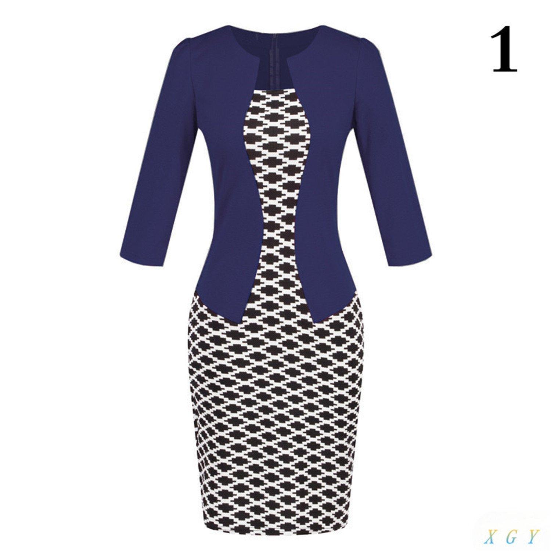 Toping Fine Women Formal Pencil Dress Suits Print Flower Plaid Dresses Office Wear Work Clothes Attachment Belt 2848 5Small