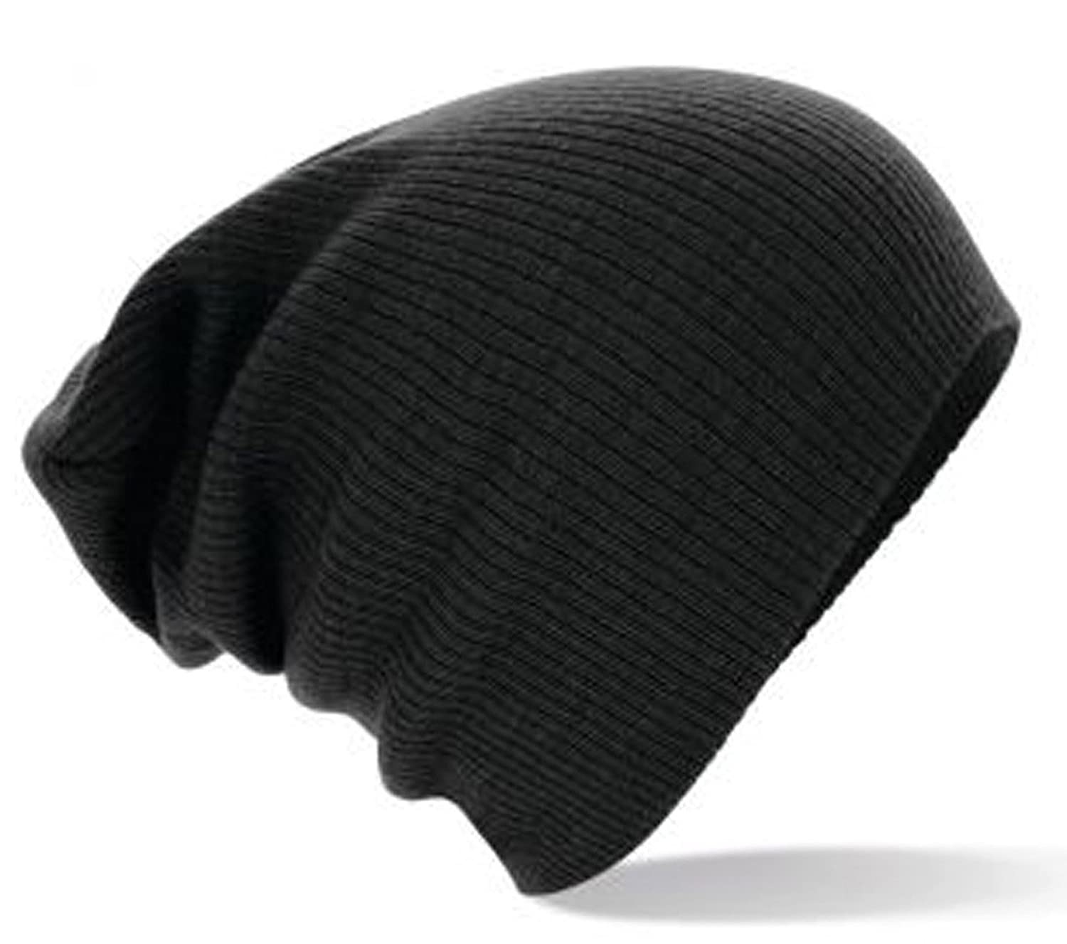 New Mens Oversized Slouch Stretch Beanie Hat- 4 Colours (Black)