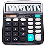 Calculator,12-Digit Solar Battery Basic Calculator,Solar Battery Dual Power with Large LCD Display Office Calculators by CloudWave (Black002) (Black002)