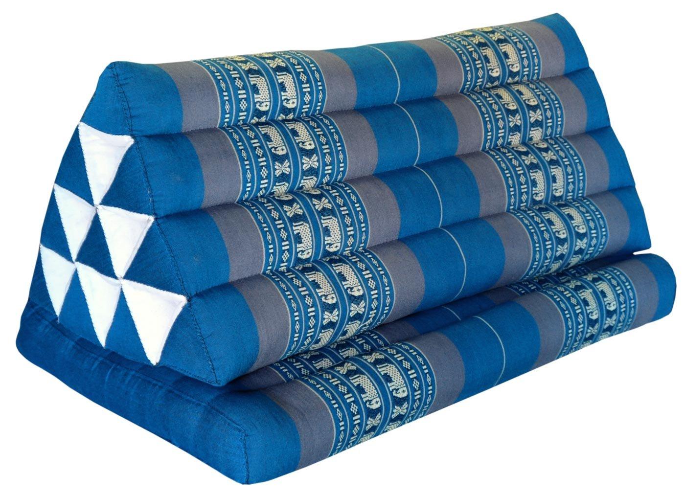 Wilai Kapok Thaikissen, Yogakissen, Massagekissen, Kopfkissen, Tantrakissen, Sitzkissen - blau/dunkelgrau Elefant (Kissen mit einer Auflage XXL 79x39x46 (81716))