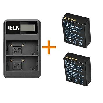 2 Piezas 1720mAh BLH-1 BLH1 Batería de la cámara con un Solo Cargador de batería para cámaras Digitales Olympus EM1 Mark II EM1-2 EM1 Mark 2 (2 pcs ...