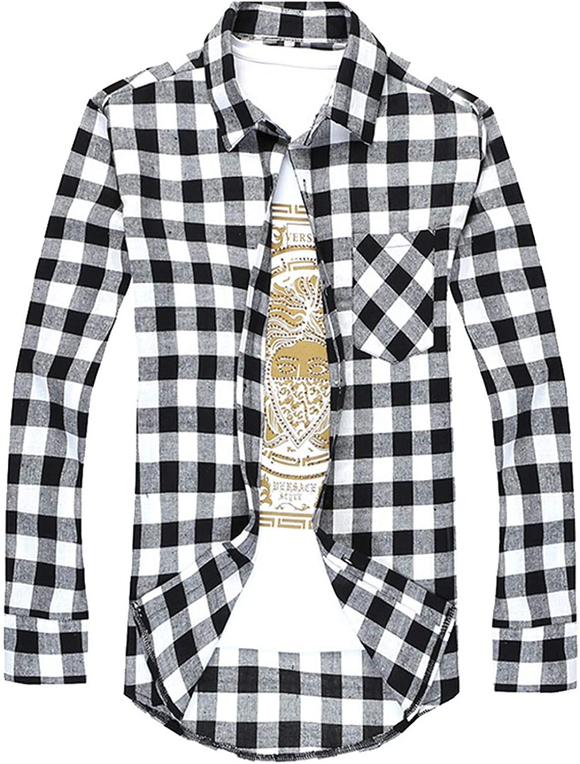 Men Checkered Shirt Button Chemise Long Sleeve Casual Shirts,Black and White,XXL,United States