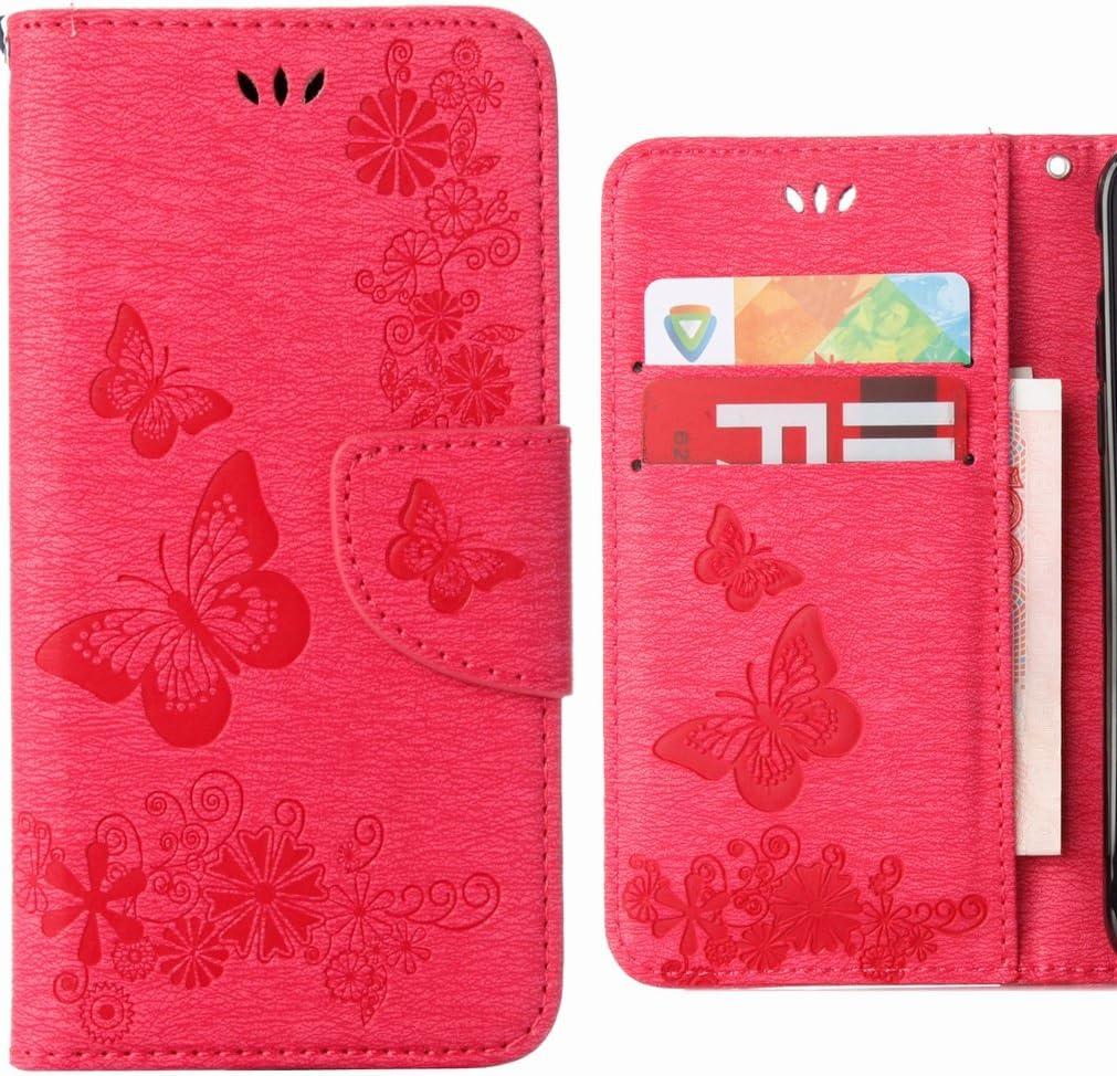 Ougger Funda para Huawei P20 Lite Carcasa, Cuero Tapa Piel Billetera Magnética Bumper Protector TPU Suave Silicona Flip Cover Carcasa Huawei P20 Lite con Ranura para Tarjetas, Raya Mariposa (Rosa)