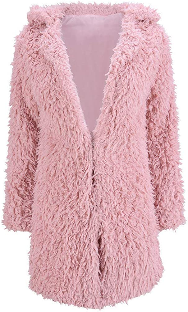 WANQUIY Womens Casual Fleece Topcoat Clearanc Faux Fur Collar for Long Sleeve Jacket Lapel Winter Cardigan Coat