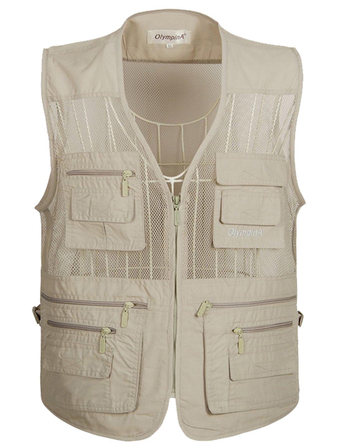 Flygo Men's Summer Mesh Fishing Vest Photography Work Multi-Pockets Outdoors Journalist's Vest Sleeveless Jacket (X-Large, Off White)