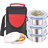Rema - Stainless Steel Lunch Box Set - 3 Containers - 300ml Each - Delivered Directly from Factory (Red)