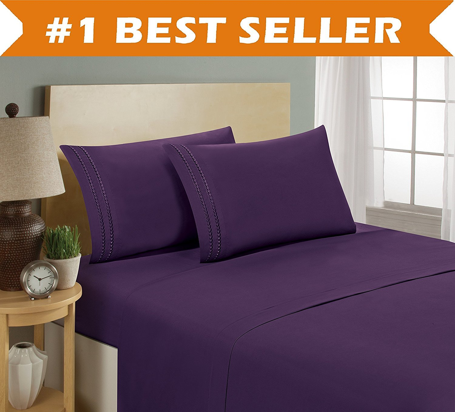4-Piece Bed Sheet set, Deep Pocket, HypoAllergenic - Queen, Purple