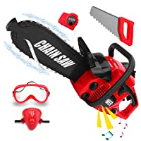 Kids Size Construction Yard Toy Pack Tool Big Play Realistic Chainsaw with Sound...