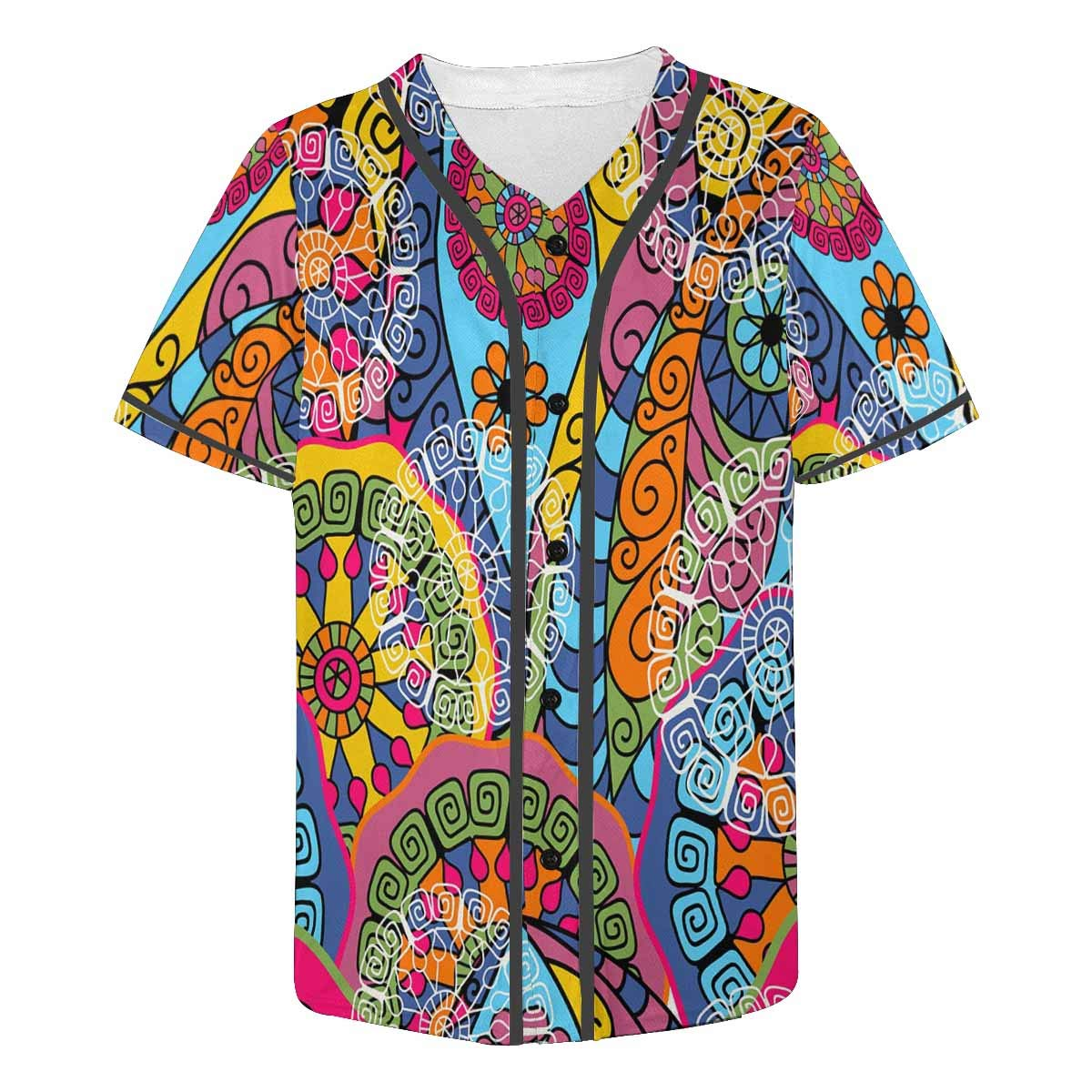 INTERESTPRINT Mens Button Down Baseball Jersey Colorful Abstracts Translucent Figures