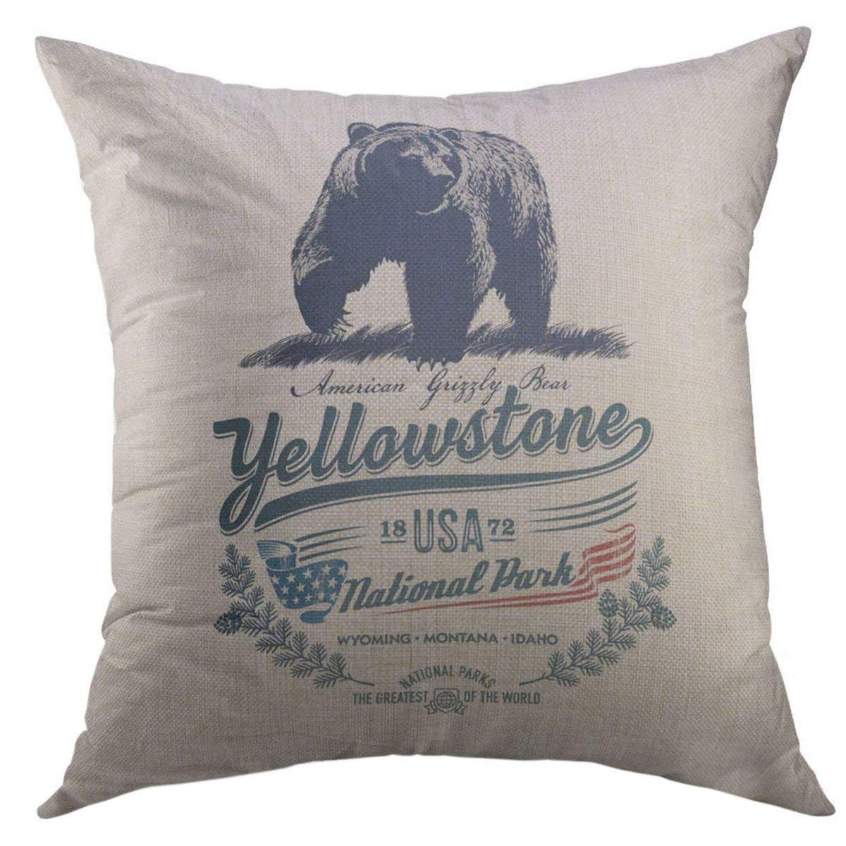 Mugod Decorative Throw Pillow Cover for Couch Sofa,Idaho Grizzly Bear National Park Yellowstone Blue Color Montana Wyoming Home Decor Pillow Case 18x18 Inch