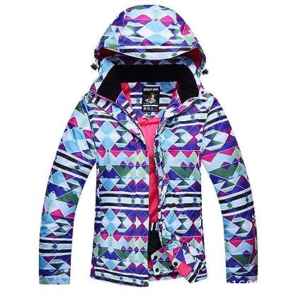 FELICIG Abrigo Impermeable Cortavientos de montaña de esquí de Mujer para Deportes de Invierno, B05