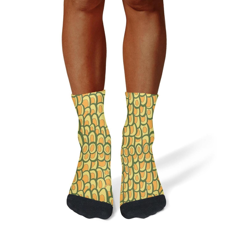 Tasbon Migny Hills Mens All-Season Sports Socks Golden Avocado Print Athletic Socks for Men