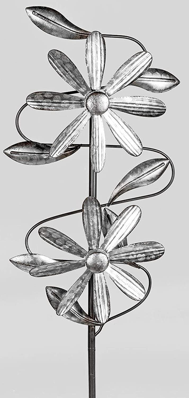 23//92cm Gro/ß Windr/äder Windspiel Windm/ühle doppelt antik Silber Windrad f/ür den Garten aus Metall dekojohnson