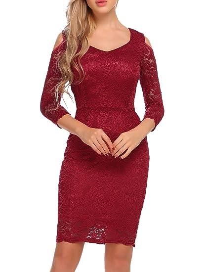 15697dae7ec ACEVOG Women s Retro Lace Dress 3 4 Sleeve Slim Bodycon Cocktail Pencil  Dresses