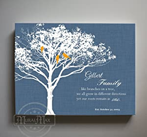MuralMax - Personalized Family Tree & Lovebirds, Stretched Canvas Wall Art, Make Your Wedding & Anniversary Gifts Memorable, Unique Wall Decor - Navy # 1 - Size 30 x 24 - 30-DAY