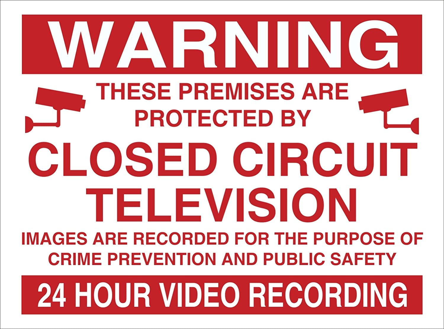 WARNING 24HR VIDEO RECORDING SIGN RIGID PLASTIC PRINTED. 200MMx150MM WOOTTON INDUSTRIES LIMITED CCTV24VID