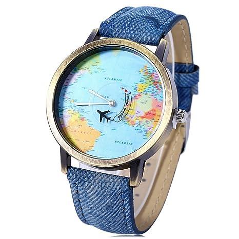 Leopard Shop Cuarzo Reloj De Pulsera Dial de mapa del mundo cuero banda azul