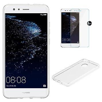 Funda Huawei P10 lite + Protector de Pantalla, EUGO TPU Funda Gel de Silicona Carcasa Funda para Huawei P10 lite Transparente Funda + 2 x Protector de ...