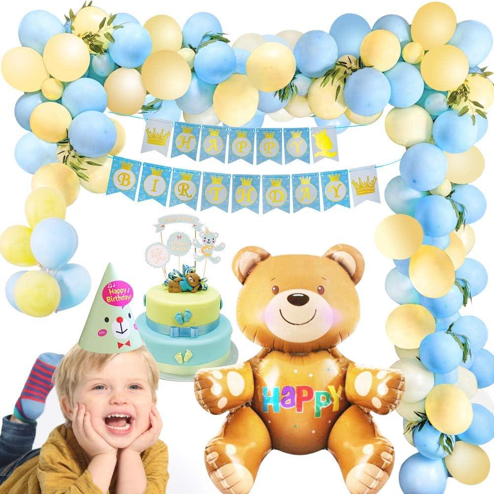 MMTX Decoración de fiesta de cumpleaños azul amarillo, decoraciones de pancartas de feliz cumpleaños niño niña con globo de oso, 40 piezas globo de látex para niños niña niño fiesta de cumpleaños