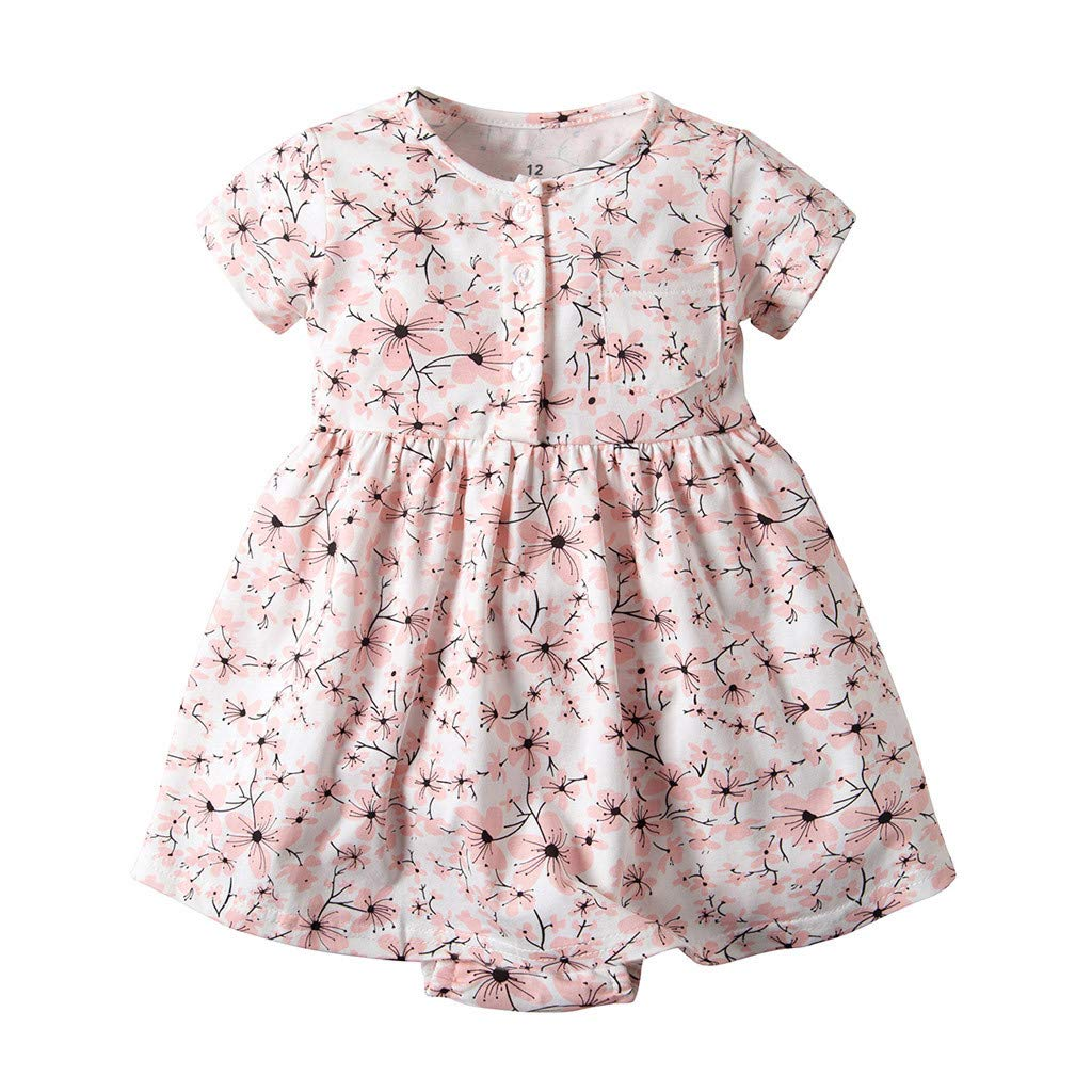 NUWFOR Toddler Kid Baby Girl Short Sleeve Floral Dress Princess Romper Dresses Clothes(Pink,9-12 Months) by NUWFOR (Image #7)