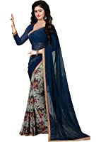 Trendz Women's Georgette Saree With Blouse Piece (Tzn_Royel_Aayesha_Royal Blue)