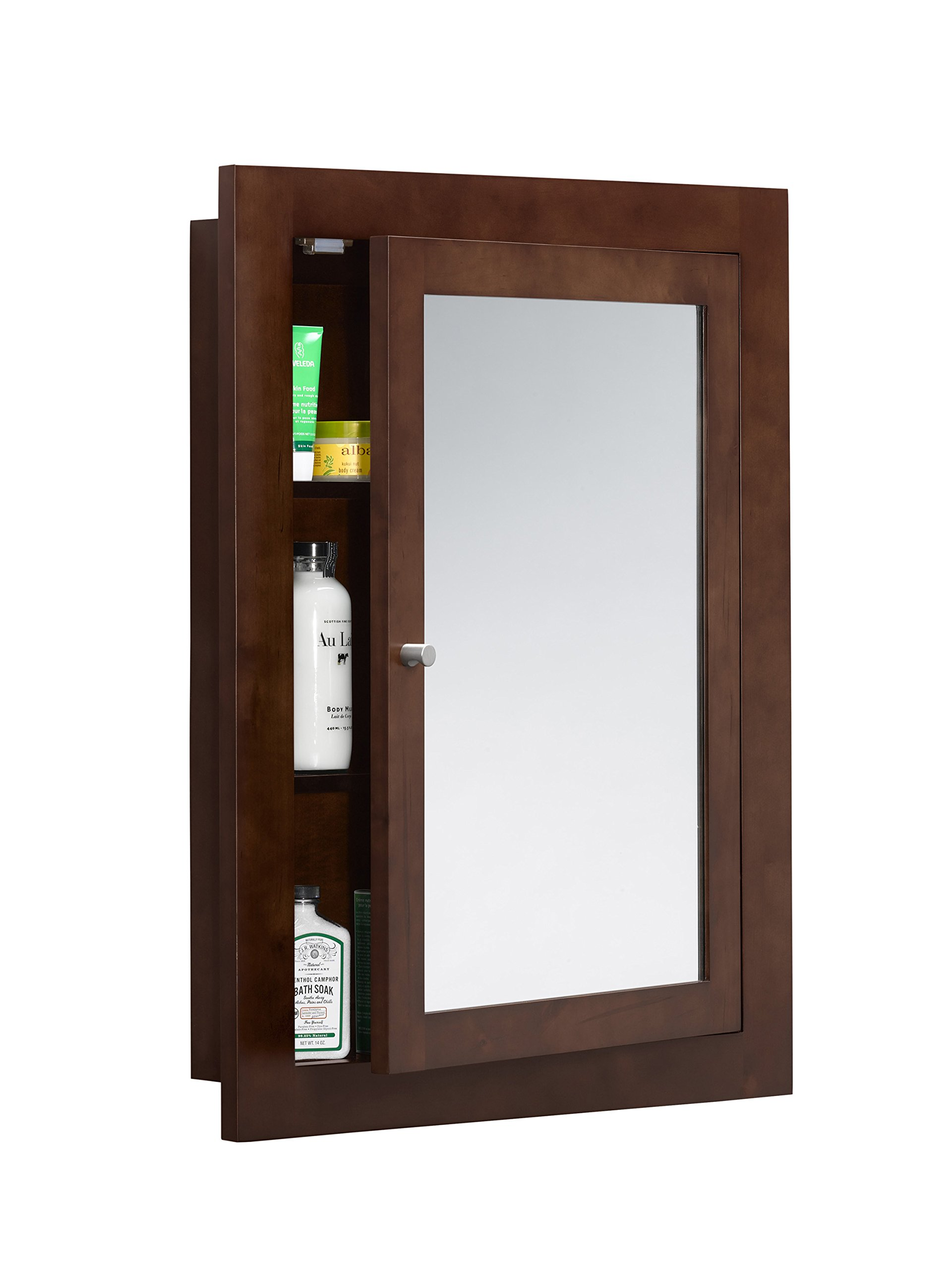 RONBOW Frederick 24'' x 32'' Transitional Solid Wood Frame Bathroom Medicine Cabinet in Dark Cherry, 2 Mirrors and 2 Cabinet Shelves 618125-H01