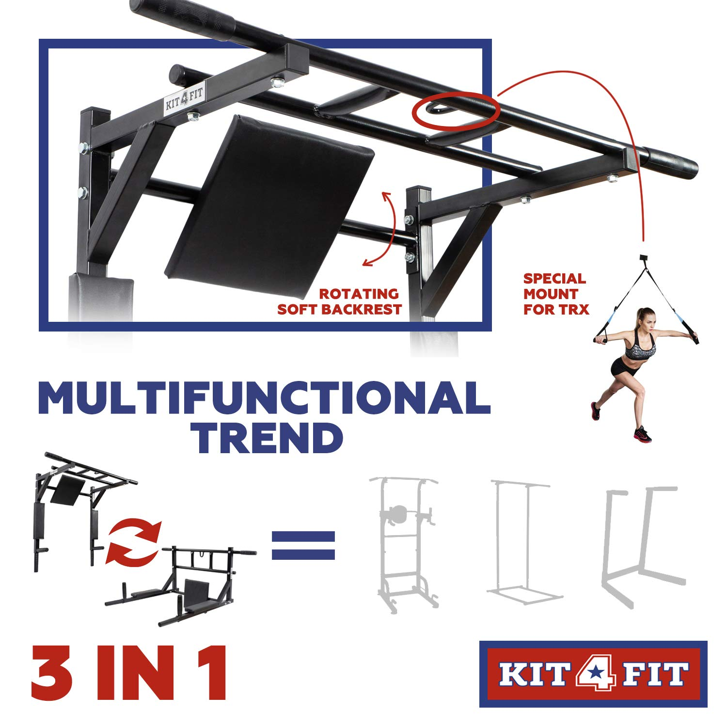 Wall Mounted Pull Up Bar and Dip Station with Vertical Knee Raise Station Indoor Home Exercise Equipment for Men Woman and Kids Great for Workout and Fitness (Black) by Kit4Fit (Image #5)