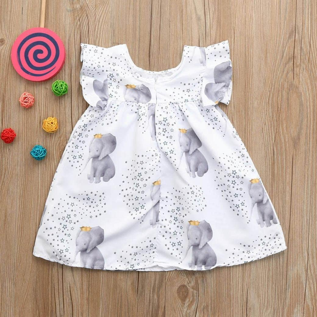 Hatoys Toddler Infant Baby Girls Stars Elephant Print Dresses Clothing Outfits