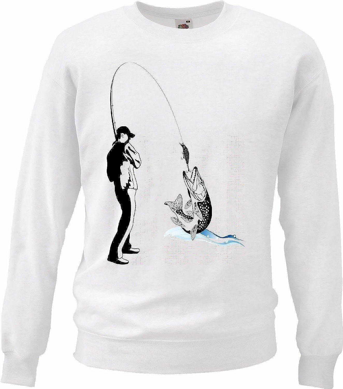 Sudaderas Suéter Pesca del Pescador Barra del mar Pescar Las Redes de Pesca Barco de Pesca Barco MAR Chop Pesca con caña en Blanco: Amazon.es: Ropa y ...