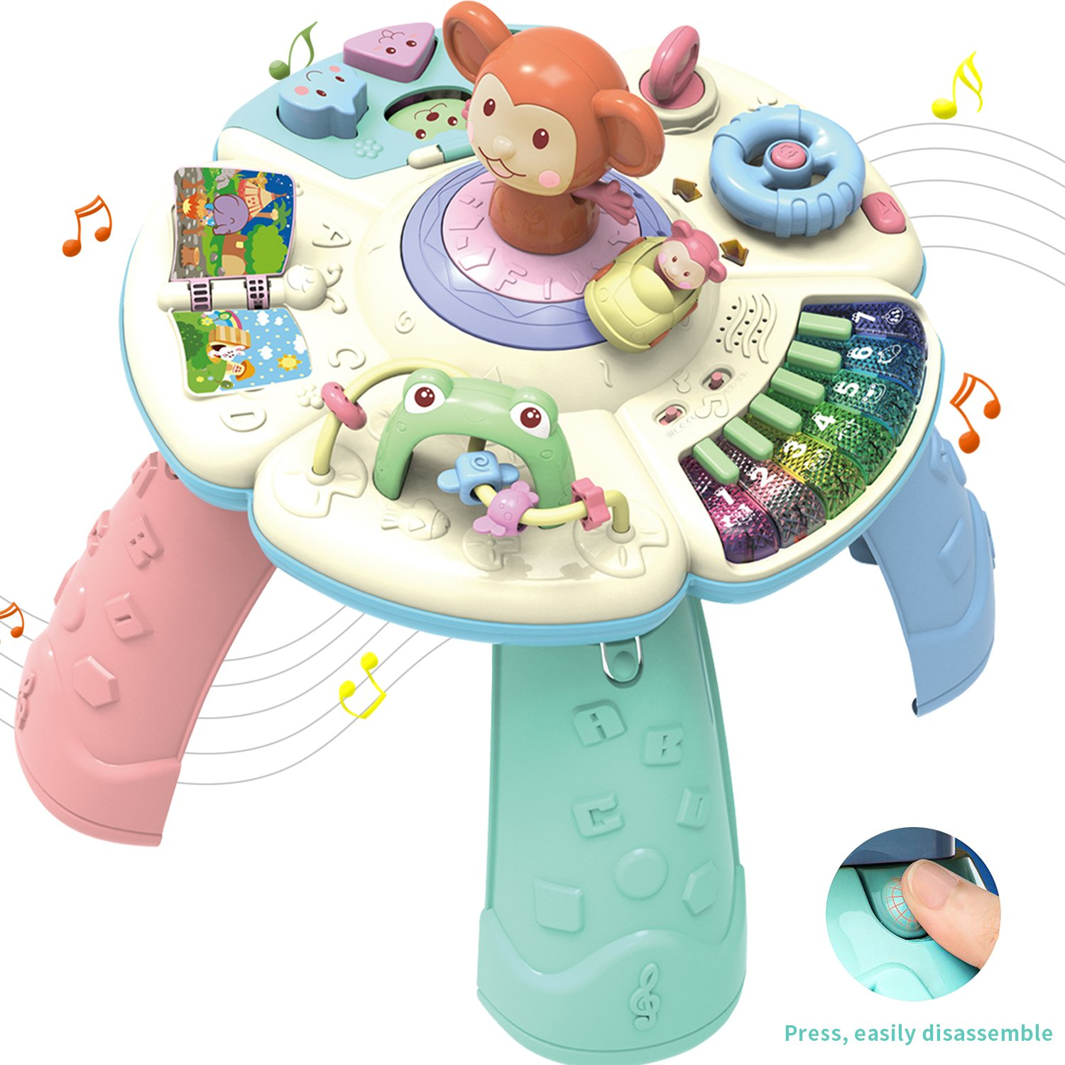 HOMOF Baby Toys Musical Learning Table 6 Months up-Early Education Music Activity Center Game Table Toddlers,Infant,Kids Toys for 1 2 3 Years Old Boys & Girls- Lighting & Sound (New Gifts) (1)