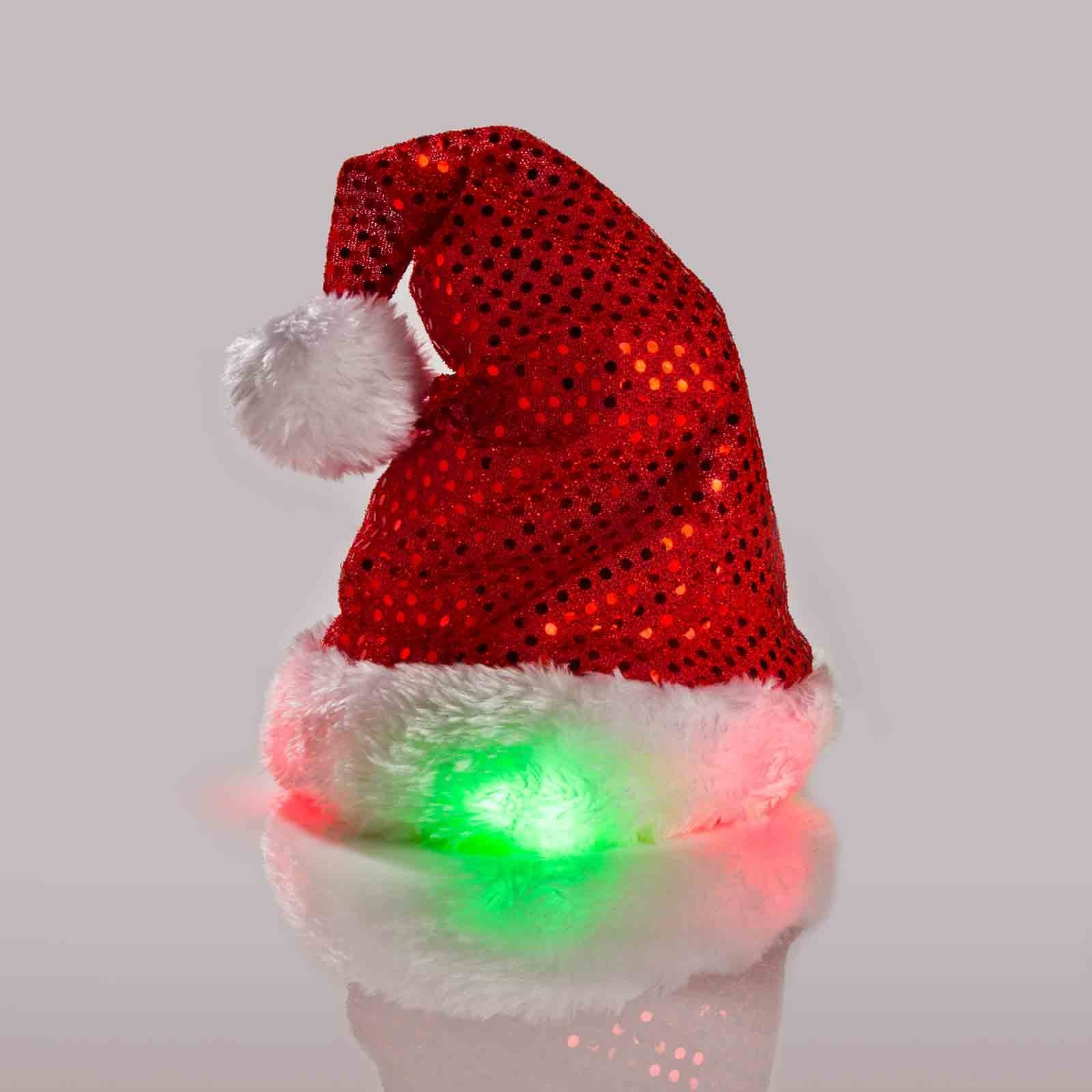 Kyjen Outward Hound 2816 LED Headband Santa Hat for Dogs Holiday Adjustable Pet Accessories, Medium, Red
