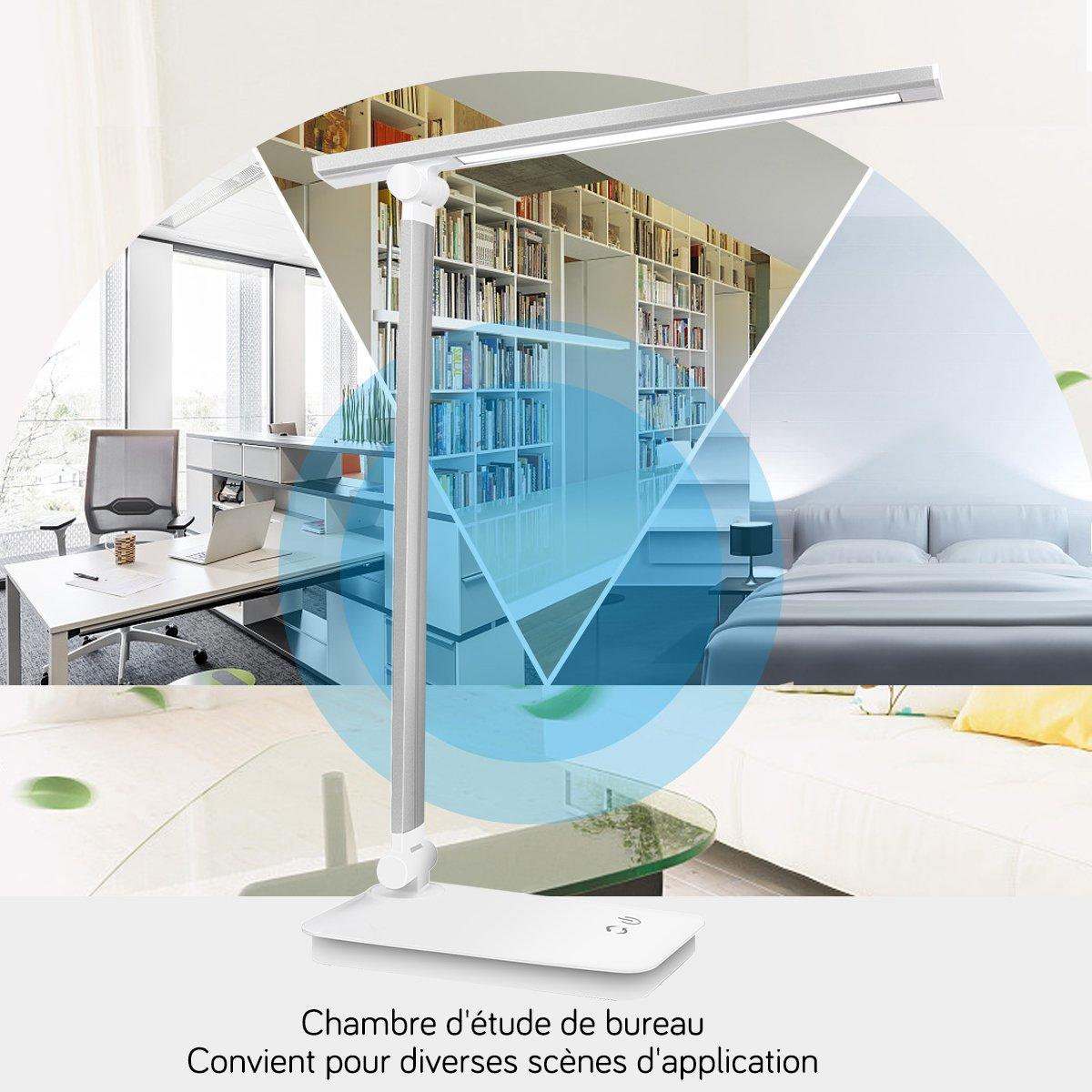 Classe defficacit/é /énerg/étique A Lampe de Bureau,AUELEK Lampe de Bureau LED USB Rechargeables 1800mAh 5 Modes de Couleur 3 Niveaux de Luminosit/é Protection des Yeux Design Rotative//Contr/ôle Tactile