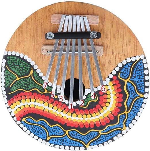 Piano pulgar 7 teclas Kalimba Dibujo coloreado Cáscara de ...