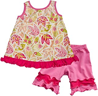 product image for Cheeky Banana Little Girls Swing top & Colorblock Knit Shorts Hot Pink Floral