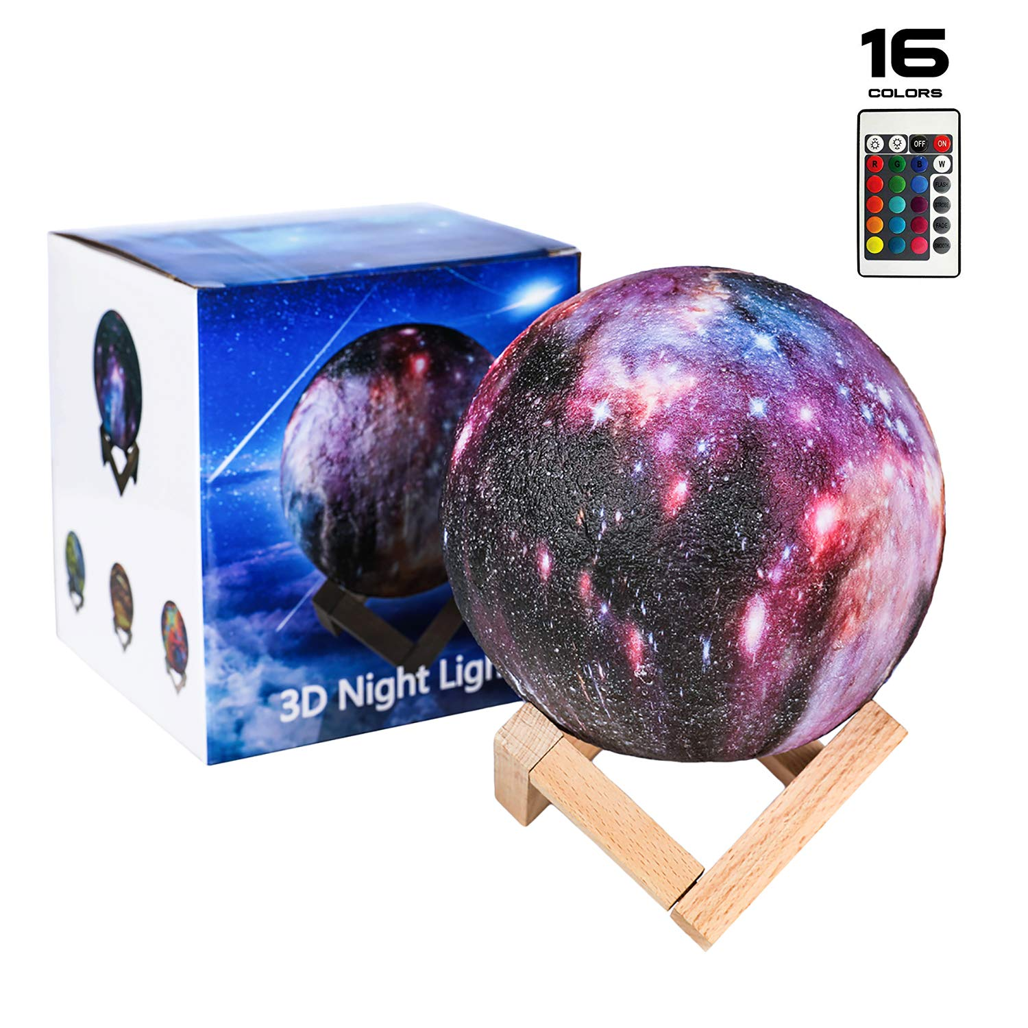 SEGOAL Moon Lamp 5.9 Inch Night Light for Kids 3D Printing Moon Light Lamp with Stand, Touch & Remote Control 16 Colors and USB Charging Decorative Star Night Light, Best Gifts for Kids Girls Lover