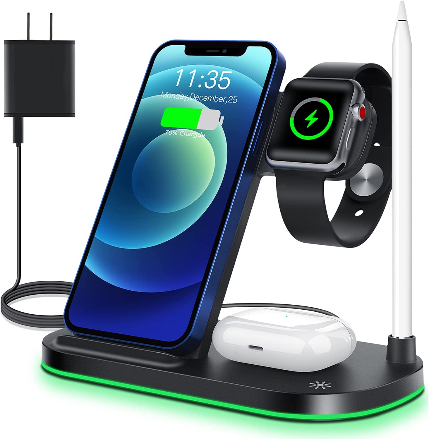 WAITIEE Wireless Charger, 4 in 1 Wireless Charging Stand for Apple Watch Series SE,6,5,4,3,2,1, AirPods Pro and Apple Pencil,15W Fast Dock Charging Station for iPhone 12,11, Pro max, Xr, Xs max, X