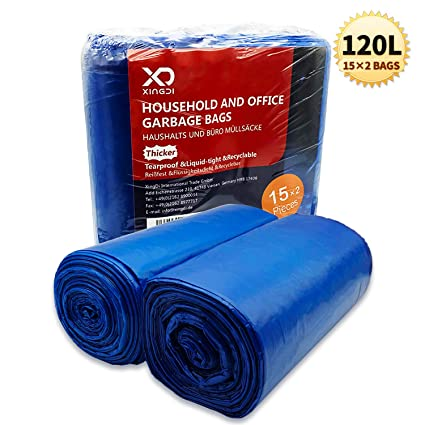 Bolsas de basura ecológicas de 120 litros, bolsas de basura de 30 μ, resistentes y resistentes para el hogar, oficina, negocios, material HDPE de 125 ...