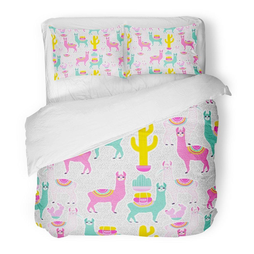 SanChic Duvet Cover Set Sweet Llama Alpaca Cactus on White Dots South America's Pattern Goods Cute Decorative Bedding Set Pillow Sham Twin Size