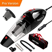 HOTOR Car Vacuum Cleaner High Power, Vacuum for Car, Best Car Vacuum, Handheld Portable Auto Vacuum Cleaner Powered by 12V Outlet of Car, Come with 1 Extra Stainless Steel HEPA Filter – Black & Red
