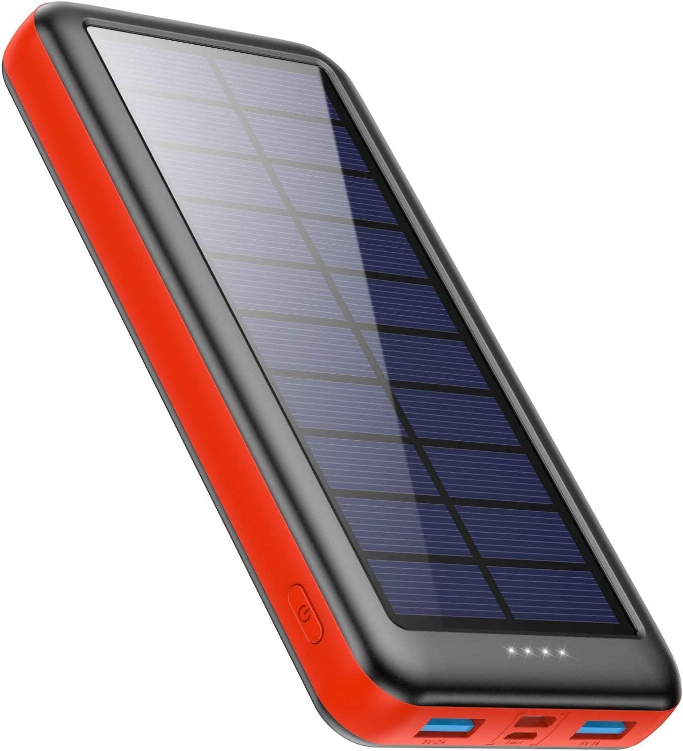 Ekrist Cargador Solar 26800mAh, Batería Externa Solar de Carga Rápida con 3 Entradas【Panel Solar/Tipo C/Mirco USB】 Power Bank Solar Cargador Portatil para iPhone Samsung Android Móviles Tableta